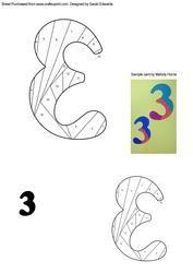 Number 3 (three) Iris Folding Pattern