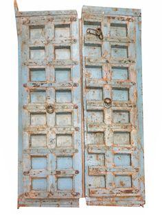Blue Distressed Antique Iron Nailed Hand Carved Doors Teak Wood Double Door #antiquedoor #handcarveddoor #holidaydeals #sale #newshipments