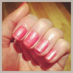 Shellac layering, tropix and iced coral give a lovely peachy iridescent look. #shellac