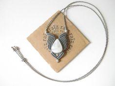 Teardrop Moonstone Macramé Necklace Pixie Woodland Grey by raiz