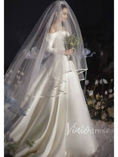 Off the Shoulder Classy Wedding Dresses with Long Sleeves VW.- Off the Shoulder Classy Wedding Dresses with Long Sleeves Off the Shoulder Classy Wedding Dresses with Long Sleeves – Viniodress - Classy Wedding Dress, Modest Wedding Gowns, Wedding Dress With Veil, Wedding Dress Sleeves, Wedding Veils, Dream Wedding Dresses, Bridal Dresses, Bridal Veils, Vail Wedding