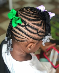 Combo style: Mohawk in the back side pony in the front 💕 Toddler Braided Hairstyles, Cute Little Girl Hairstyles, Little Girl Braids, Girls Natural Hairstyles, Natural Hairstyles For Kids, Baby Girl Hairstyles, Braids For Kids, Girls Braids, School Hairstyles