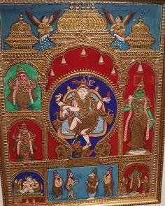 Image may contain: 3 people Mysore Painting, Kalamkari Painting, Tanjore Painting, Buddhist Art, Indian Paintings, Lord Shiva, Goddesses, Living Room Decor, Art Drawings