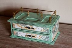 Refurbished Painted Mint  Vintage Jewelry Box