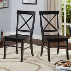 Beachcrest Home Brookwood Solid Wood Side Chair Color: Black Chair, Wood Side Chair, Furniture, Dining Room Chairs, Chair Set, Wood Crosses, Solid Wood Dining Table, Wood Dining Table, Solid Wood Dining Chairs