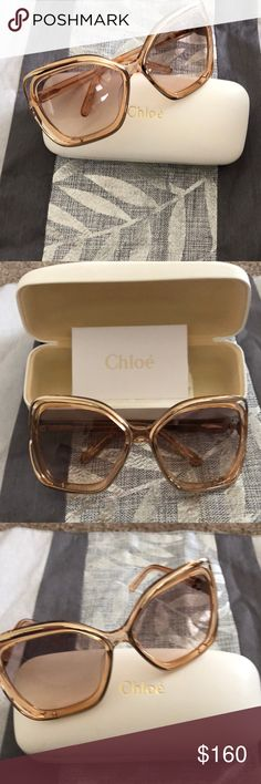 CHLOE sunglasses AUTHENTIC mint condition CHLOE sunglasses.  Worn once. A combination of gold metal and peachy plastic frame. This model is so hard to find and it makes a strong fashion statement. They are considered an oversized square fit. Authentic case & cloth included. No trades / No PayPal. Chloe Accessories Sunglasses