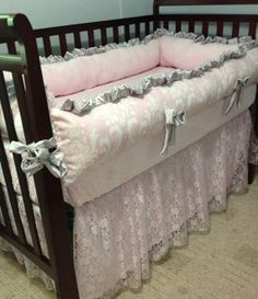 crib bedding idea - pink and gray with lace