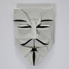May 31st 2015 Origami Guy Fawkes mask I made today. Designed by Brian Chan; tutorial by @jonakashima ; paper size: 15x15cm #151 #origami #paper #folding #guyfawkes #mask #diy #craft #handmade