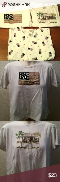 3 Talbots T-shirt USA Flag Lot Ladies Size L LP 3 Ladies Talbots Short Sleeve Shirt Lot. They are a size Large, Petites. They all are American Flag, Patriotic style themed. They are in good used condition with normal age wear and no tears or stains. Talbots Tops Tees - Short Sleeve