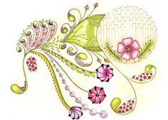 Zentangle - Art - Flower - Nature - Green - Pink