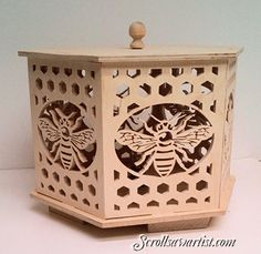 Scroll Saw Patterns :: Lighted projects :: Night lights & lamps :: Six-sided Bee lamp -