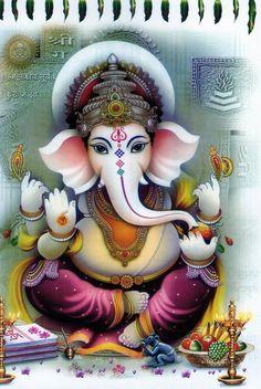 Ganesha - o removedor dos obstáculos, o chefe do Ganas, os atendentes do Senhor Shiva e Parvati Devi. Ele impediu Ravana de se tornar todo-poderoso forçando-o a colocar um shivaling ele deveria levar todo o caminho para Lanka. Ele também fez Kumbhakarna (irmão de Ravana) misspeak o nome de um benefício, resultando em ele dormir por 6 meses do ano. Arte Ganesha, Pintura Ganesha, Jai Ganesh, Shree Ganesh, Ganesh Statue, Shri Mataji, Ganesh Idol, Jai Hanuman, Ganesh Images