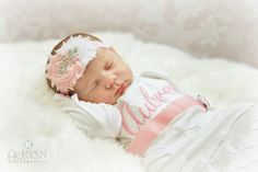 TheGirlyBaby.com/*** Personalized Newborn Girl Take Home Outfit Gown & Headband Set