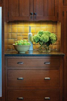 Craftsman kitchen with Motawi tile backsplash and cabinets from Crown Point Cabinetry - Arts & Crafts Homes and the Revival Smart Kitchen, Green Kitchen, New Kitchen, Kitchen Decor, Kitchen Ideas, Craftsman Kitchen, Craftsman Style, Arts And Crafts House, Home Crafts