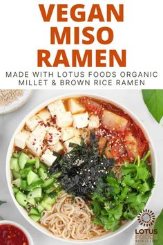 Here's an easy and comforting Vegan Miso Ramen with a rich and flavorful broth, topped with tofu, cucumbers, and cilantro! Ramen Noodle Soup, Ramen Noodles, Best Vegan Recipes, Healthy Recipes, Healthy Meals, Food Website, Meatless Monday, Tofu, Appetizer Recipes