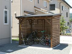 Would like to know about firewood shed plans? Then here is definitely the right place! Garden Bike Storage, Outdoor Bike Storage, Shed Storage, Craftsman Sheds, Decks, Bicycle Garage, Big Sheds, Cheap Sheds, Hillside Landscaping