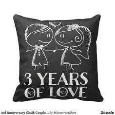 3rd Anniversary Chalk Couple Gift Throw Pillow