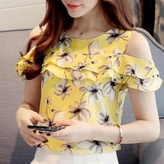 Off Shoulder Short Sleeve Blouses Floral Chiffon Shirts Women Off Shoulder Short Sleeve Blouses Print Floral Chiffon Shirts Casual Ladies Clothing Female Blusas Women Tops 30 Chiffon Floral, Floral Blouse, Printed Blouse, Floral Sleeve, Collars For Women, Blouses For Women, Casual Shirts, Casual Outfits, Nice Dresses