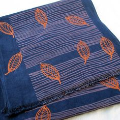 Dining Room: Table runner cloth, screenprinted and hand dyed, copper, indigo - organic cotton / hemp