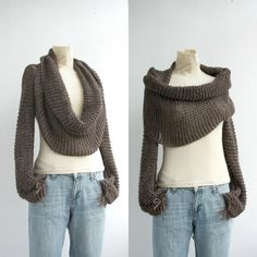 Isnt this a cozy looking thing.  Part sweater, part shrug, part infinity scarf!     New Season  Brown  Wrap Bolero Scarf Shawl Neckwarmer gift for Women Girl Mom Mothers Day Gift. $79.00, via Etsy.