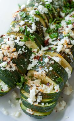 Hasselback Zucchini with Lemon, Basil, and Feta