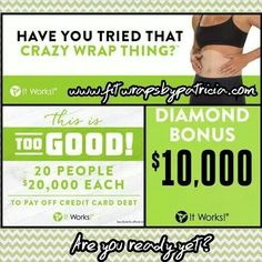 This is the LAST month to enter the #tooGOOD drawing for $20,000 to pay off debt, and the LAST month a Distributor can start with It Works! to make Diamond Rank within 90 days to get a $10,000 #GOODbonus!  Are you ready yet?  #itworks #diamondbound #changeyourlife #oneteamonemission