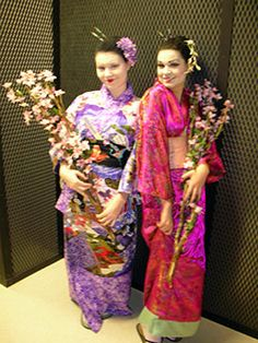 """Japanese kimonos for Central Piedmont Community College """"Madame Butterfly"""". White wedding kimono worn by singer/CPCC instructor Rebecca Cook-Carter. Geishas: CPCC opera students"""