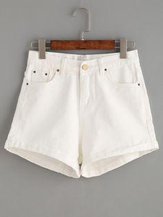 Shorts denim ribete enrollado - blanco