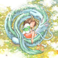 Chihiro x Haku, from Sen to Chihiro (a.k.a. Spirited Away)