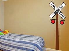 Railroad Crossing Sign Wall Decal by Wall Jems Wall Decals - Nursery and Kids Bedroom