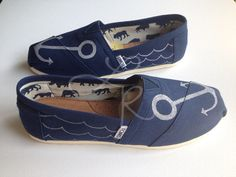 anchors hand drawn on TOMS shoesmade to order by ArtfulSoles, $85.00