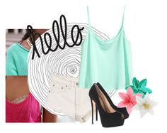 """hello! cute outfit"" by ohkally ❤ liked on Polyvore featuring Levi's, H&M, Giuseppe Zanotti and Clips"