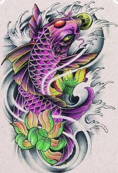 Ten Great Koi And Lotus Flower Tattoo Designs Ideas That You Can Share With Your Friends Koi Dragon Tattoo, Pez Koi Tattoo, Koi Tattoo Sleeve, Carp Tattoo, Japanese Sleeve Tattoos, Dragon Koi Tattoo Design, Koy Fish Tattoo, Dragon Koi Fish, Japanese Koi Fish Tattoo