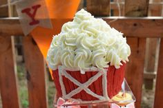 Barn smash cake! Perfect for a farm themed first birthday! So adorable.