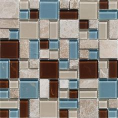 Puzzle Blend Beige / Brown / Blue Tile.
