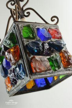 Salvaged Dalle de Verre Porch / Ceiling Light Mosaic Art, Mosaic Glass, Stained Glass, Glass Art, Porch Ceiling Lights, Glass Lights, Reclaimed Doors, Glass Houses, Glass Terrarium