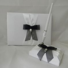 Wedding-Party-Ceremony-Skull-Gothic-Goth-Guest-Book-amp-Pen-3-Psc-Set-White
