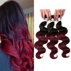 ombre hair remy hair 1b/99j