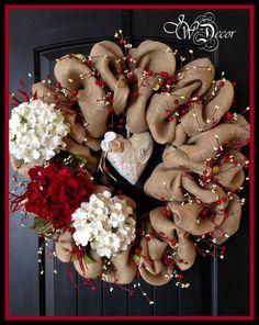 Arpillera coronas Valentines guirnaldas corazón guirnalda