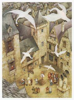 """The Six Swans"" - Illustration by Pauline Ellison (British, b. 1946)"