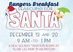 Start the morning off with Texas-shaped Waffles and Fried Chicken&other breakfast favorites. there will be face painting and balloon artistry, a fun room for the kids, a holiday movie on the big screen. Then a Frenzied Elf will collect everyone and the tour will start with clue pamphlet. Kids will enter each of the six locations that Santa has visited then find him &get their picture taken, a collectible mini bat, and play time on the interactive playground.