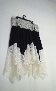 Plus Size 18W Black And White Vintage Lace Skirt  I have refashioned this skirt into a one-of-a-kind design. There is a back zipper, beigh