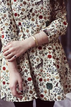 Romantic look ideas 2015. Floral dress and plenty of accessories.