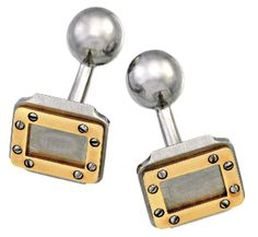 PAIR OF GOLD AND STAINLESS STEEL BAR BELL CUFFLINKS, CARTIER   Each designed as a rectangular stainless steel plaque with applied 18ct gold frame highlighted by screwhead motifs, terminating in a stainless steel ball, signed Cartier, numbered E61354.
