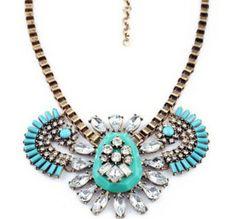 Blue sky high statement fashion necklace  Www.thehangoutb.com