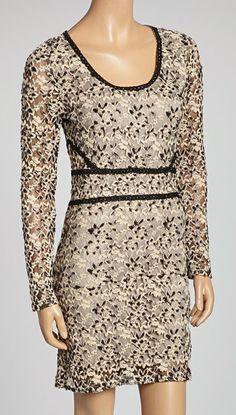 Black & Beige Lace Scoop Neck Dress