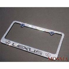 Premium Bling Bling LEXUS (White Cap D Type) Crystal Diamond  Rhinestone Metal. License Plate FramesLicense ...