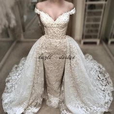 Vintage Lace Mermaid Wedding Dress With Detachable Over-Skirts Charming Off Shoulder V-Neck Wedding Gowns Beaded Applique Bridal Dresses Mermaid Wedding Dress Long Sleeve Wedding Dresses Lace Wedding Dress Online with $249.15/Piece on Kazte's Store | DHgate.com