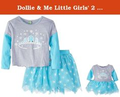 Dollie & Me Little Girls' 2 Piece Skirt Set Knit Screen Print Top with Printed Tulle Hanky Skirt, Grey/Turquoise, 6. Knit crown screen-print top and tulle hanky skirt set.