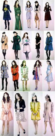 Watercolors of the Duchess of Cambridges maternity fashion